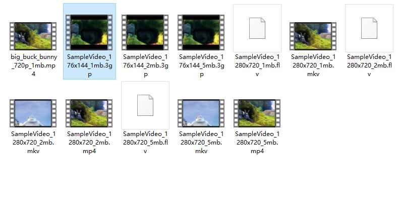 mp4、3gp、mkv、flv格式测试视频